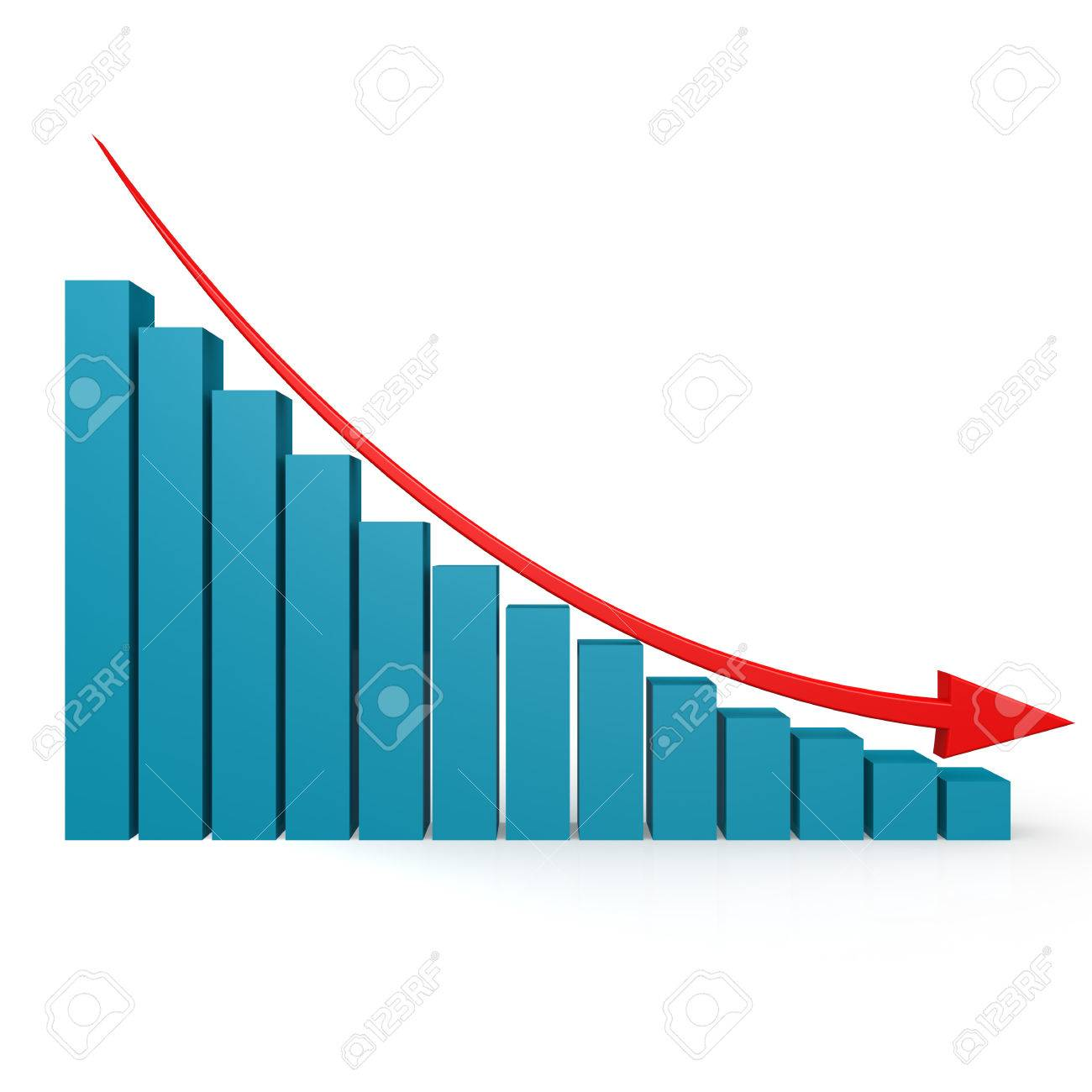 Blue graph and red arrow down image with hi-res rendered artwork that could be used for any graphic design. - 44153115