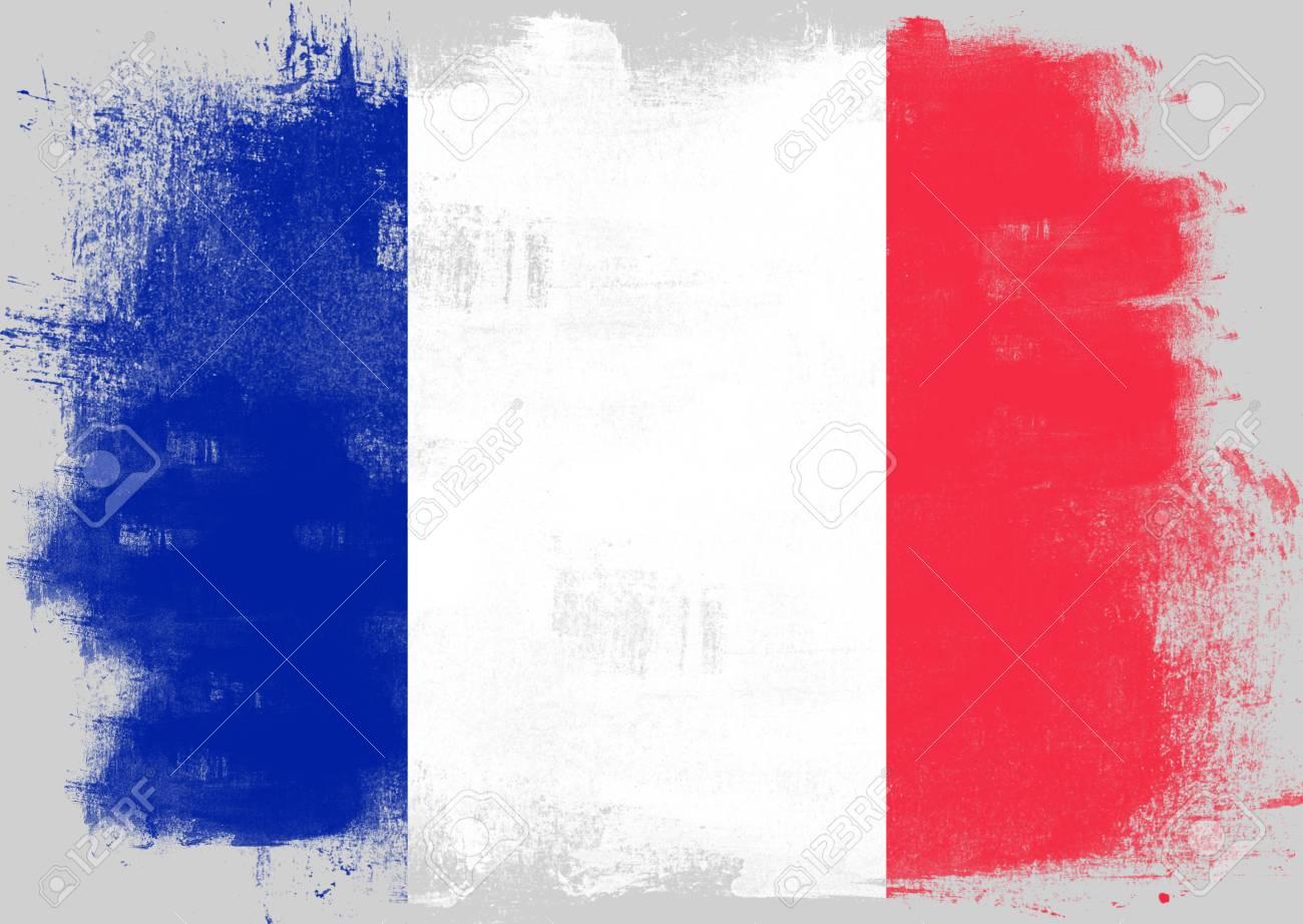 Bandera De Francia Pintadas Con Pincel Sobre Fondo Sólido, Fotos ...