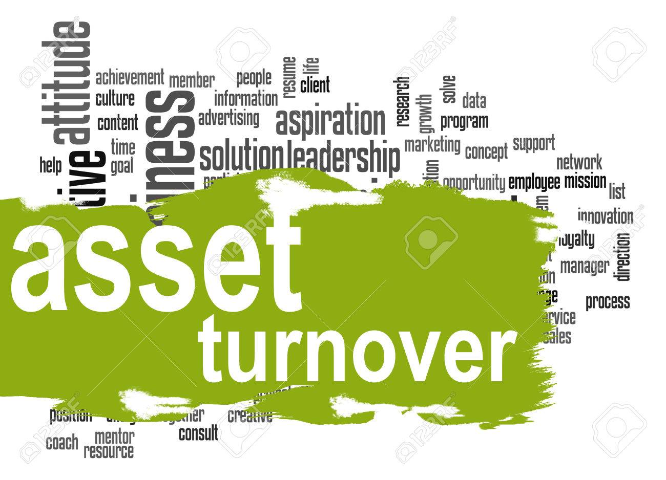 asset turnover word cloud with green banner image with hi res rendered artwork that could