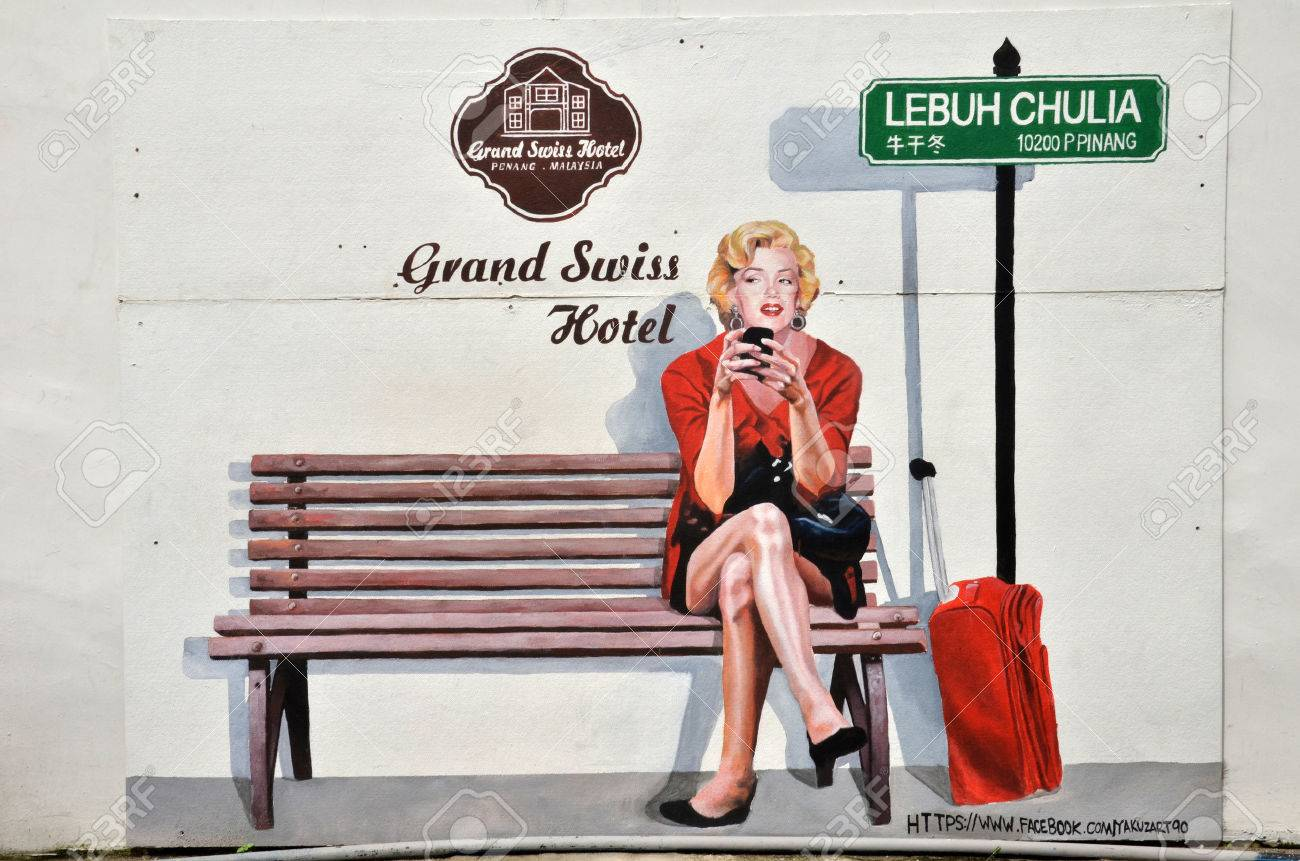 PENANG, MALAYSIA - 26 NOV, 2015: Painting of Marilyn Monroe check in Grand Swiss Hotel in Penang, Malaysia. Grand Swiss Hotel is located in George Town, center of Penang. - 49979657