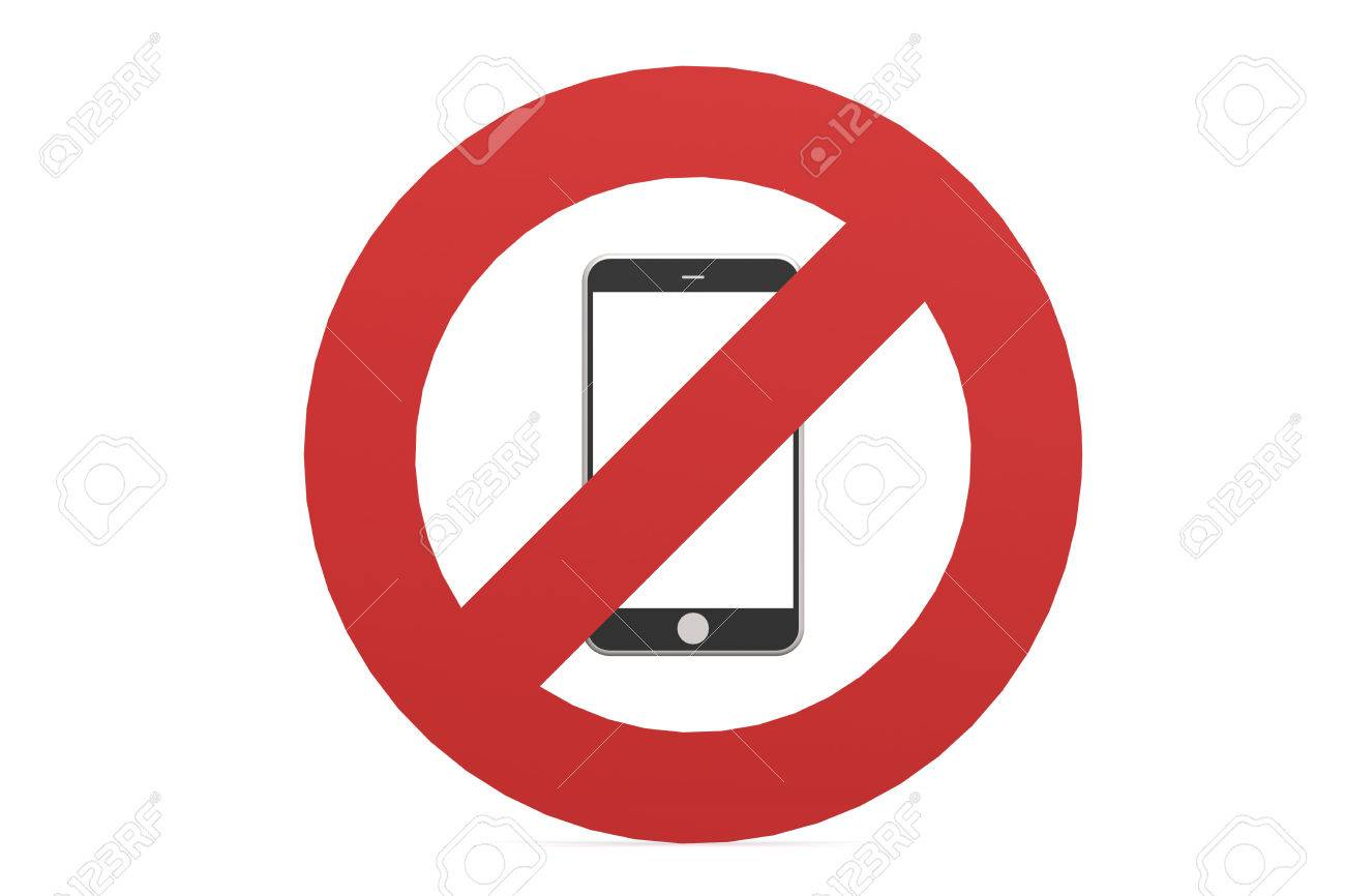 mobile phone prohibited no cell phone sign isolated on white background stock photo 55452353
