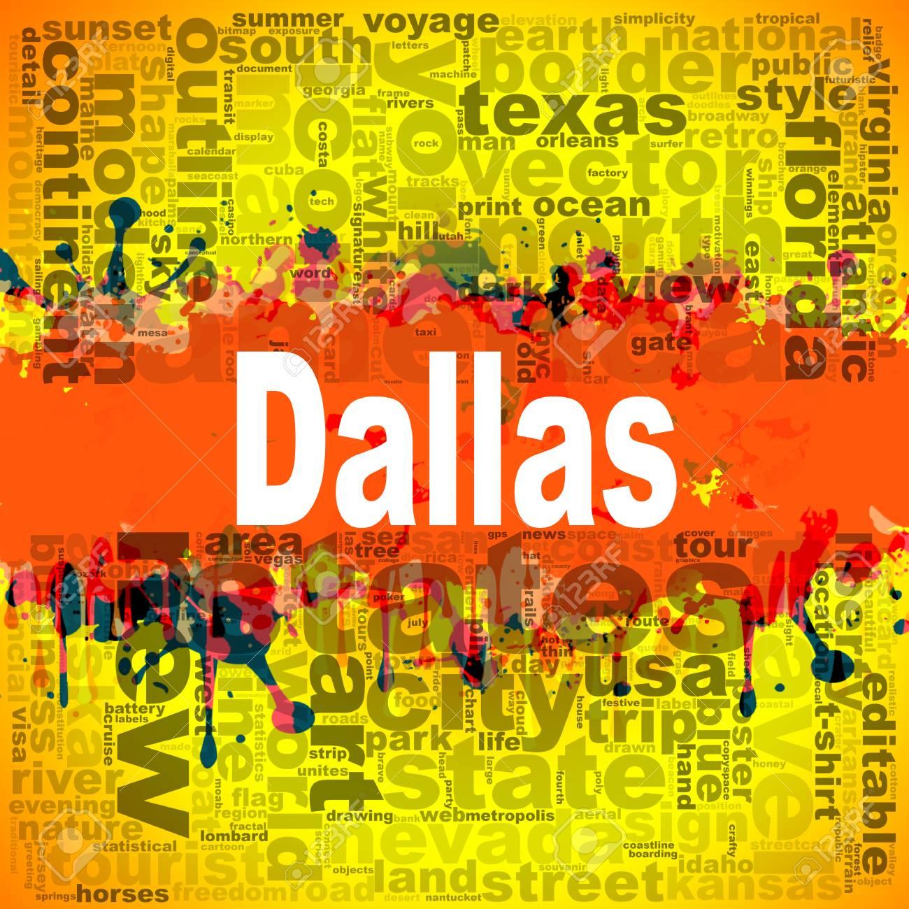Dallas Nube De Palabras De Diseño Ilustración Creativa De Letras De Motivación Palabra De Letras Representación 3d