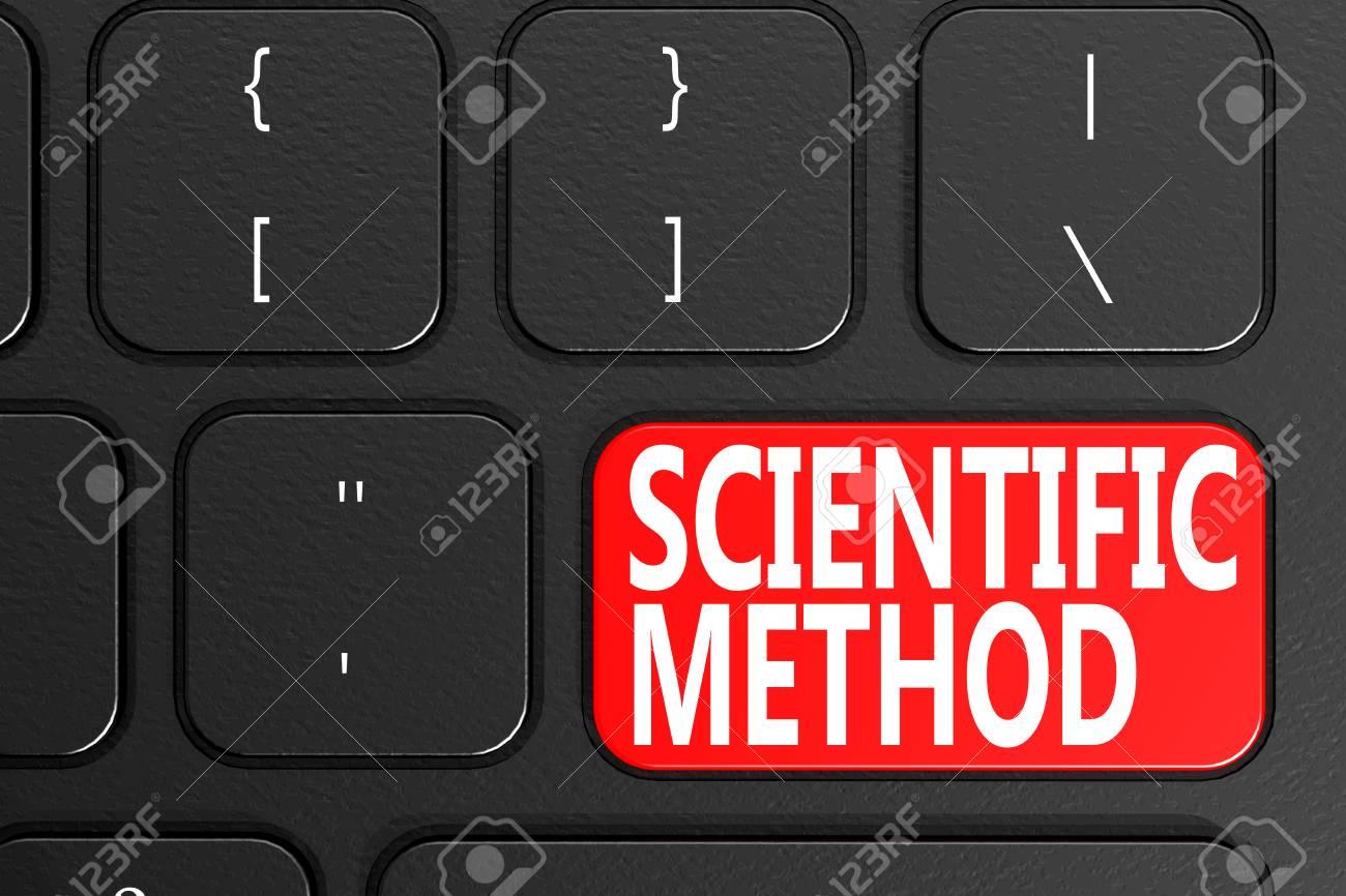Scientific Method on black keyboard, 3D rendering - 110463059