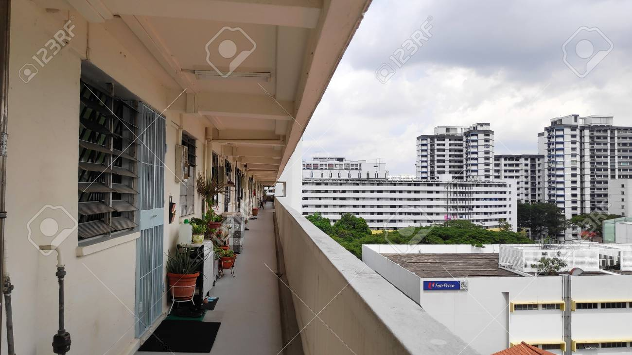 SINGAPORE- JAN 03, 2019: View of Singapore residential building also known as HDB - 117656829