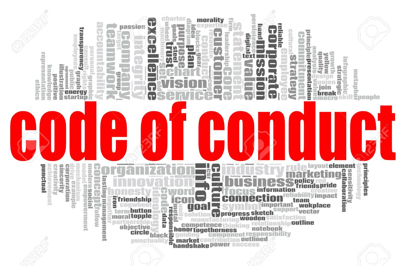 Code of conduct word cloud concept on white background, 3d rendering. - 115837100