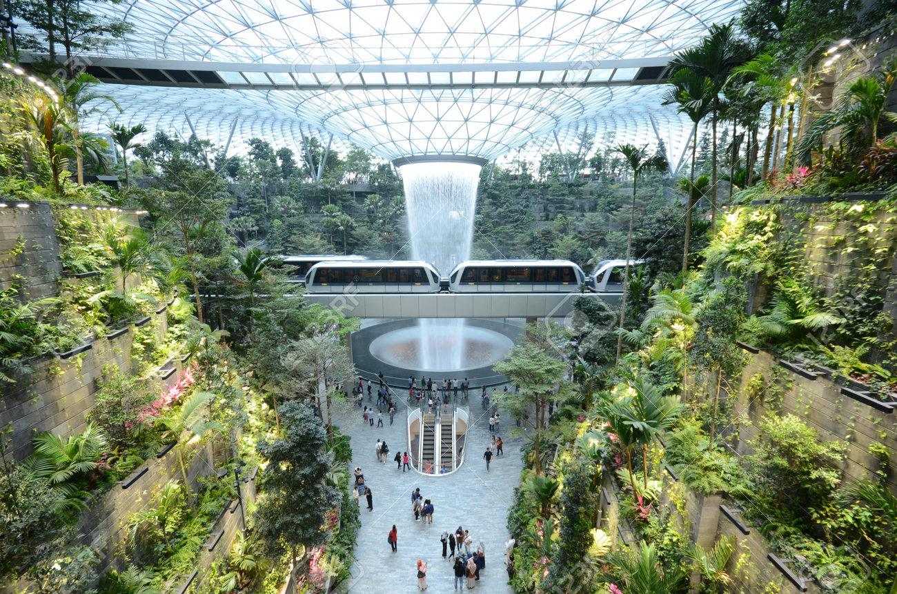 SINGAPORE, 11 Apr, 2019: The Rain Vortex, a 40m-tall indoor waterfall