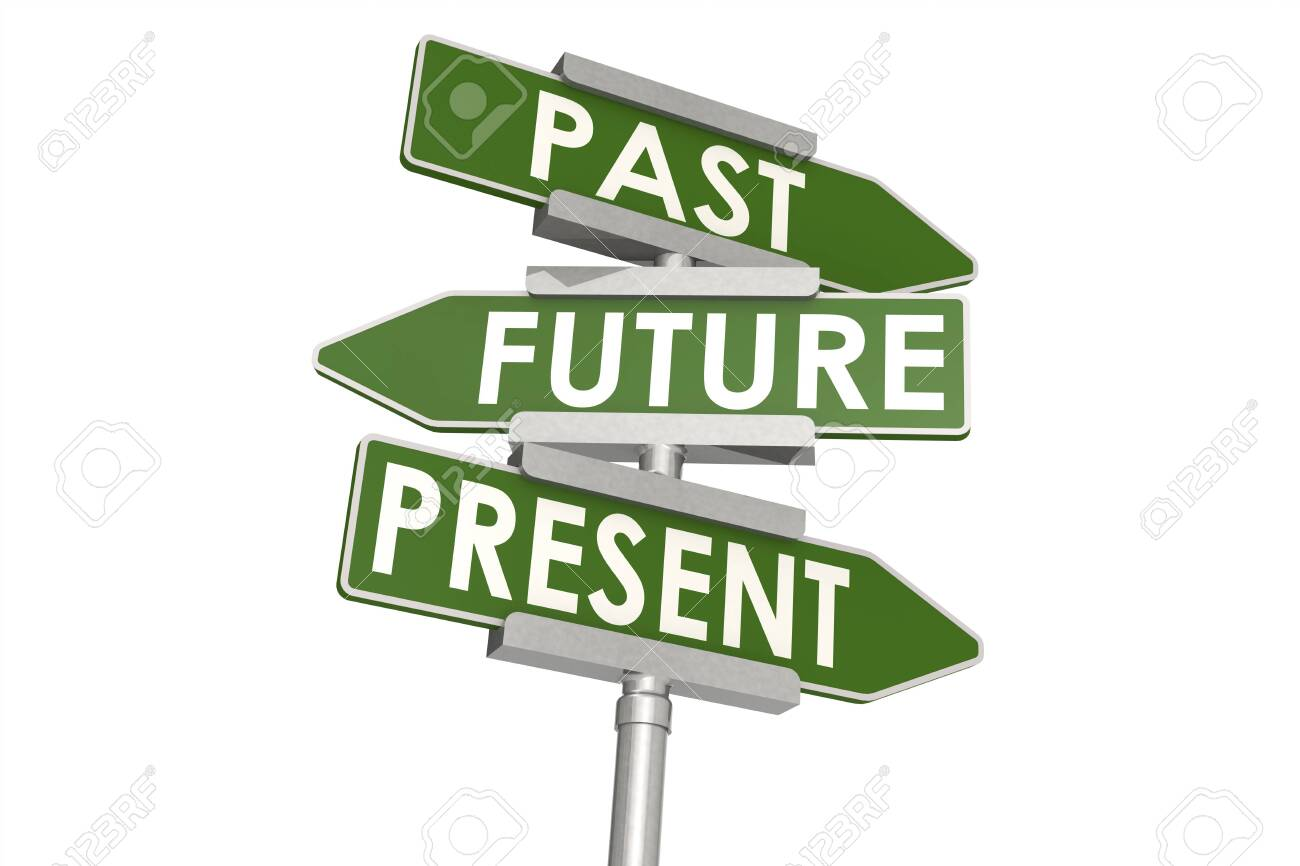 Past future and present word on road sign, 3D rendering - 138633671