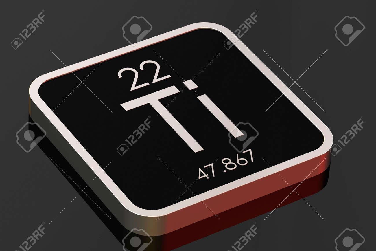 Titanium element from periodic table on black square block, 3D rendering - 167028048