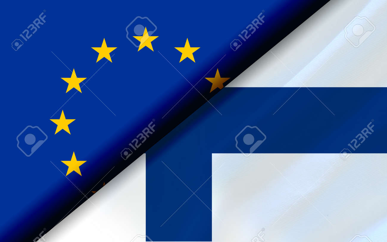 Flags of the EU and Finland divided diagonally. 3D rendering - 164289808