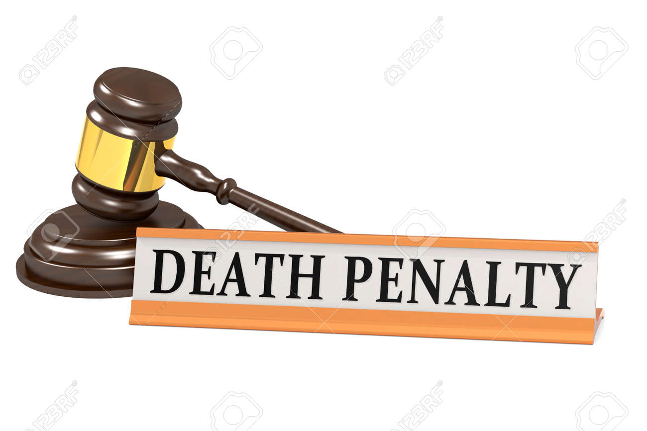 Wooden judge gavel and death penalty banner, 3d rendering - 164289810