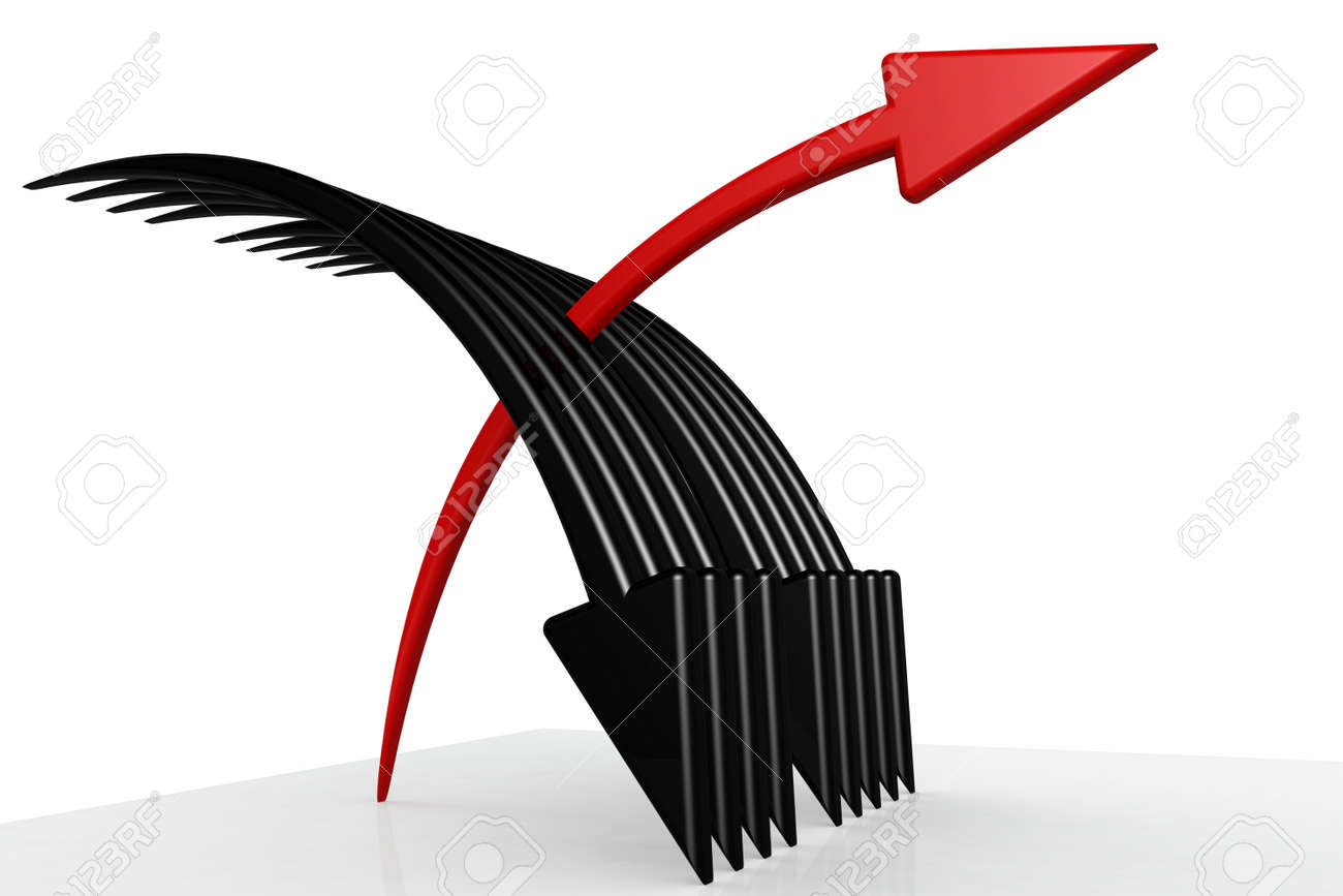 Red and black arrows with white background, 3D rendering - 164289814