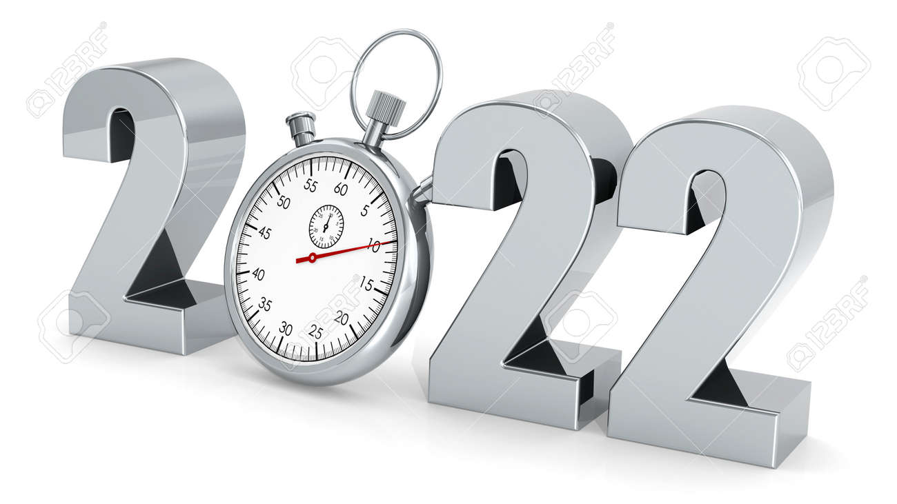 Year 2022 with stopwatch isolated, 3D rendering - 163948627