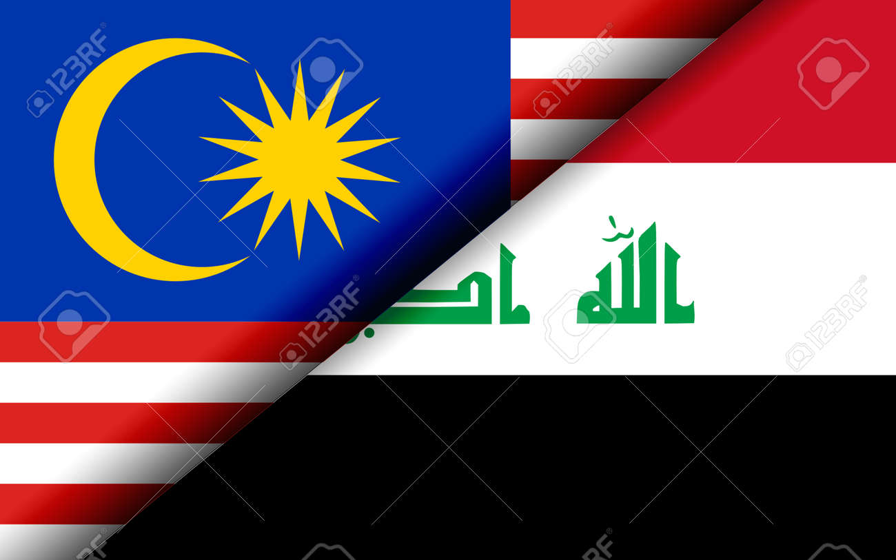 Flags of the Malaysia and Iraq divided diagonally. 3D rendering - 163944736