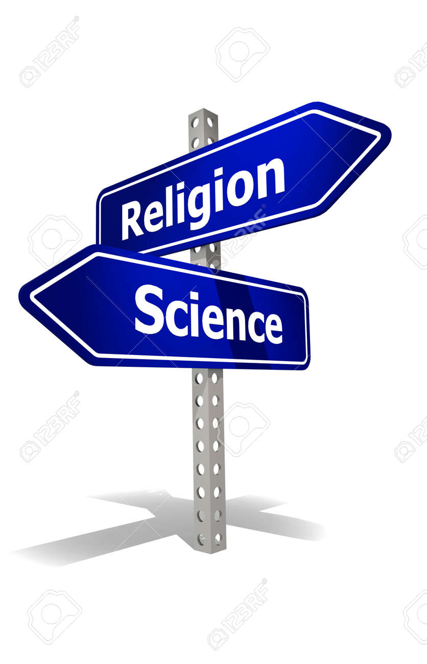 Road sign with religion and science word, 3d rendering - 165027282