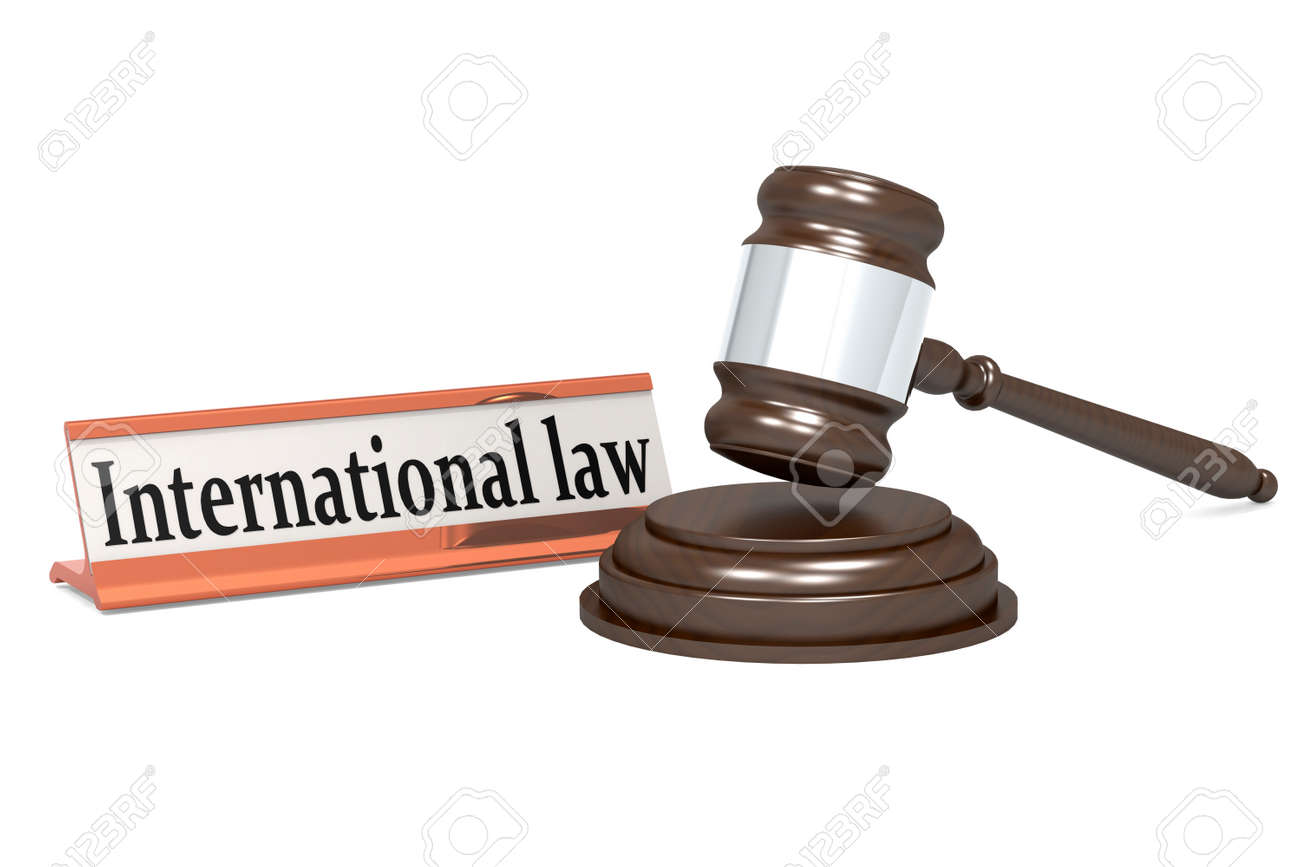 Wooden judge gavel and international law banner, 3d rendering - 165112347