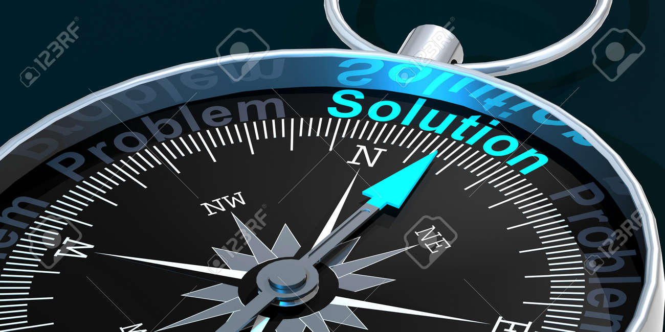Compass needle pointing to word solution, 3d rendering - 169211801