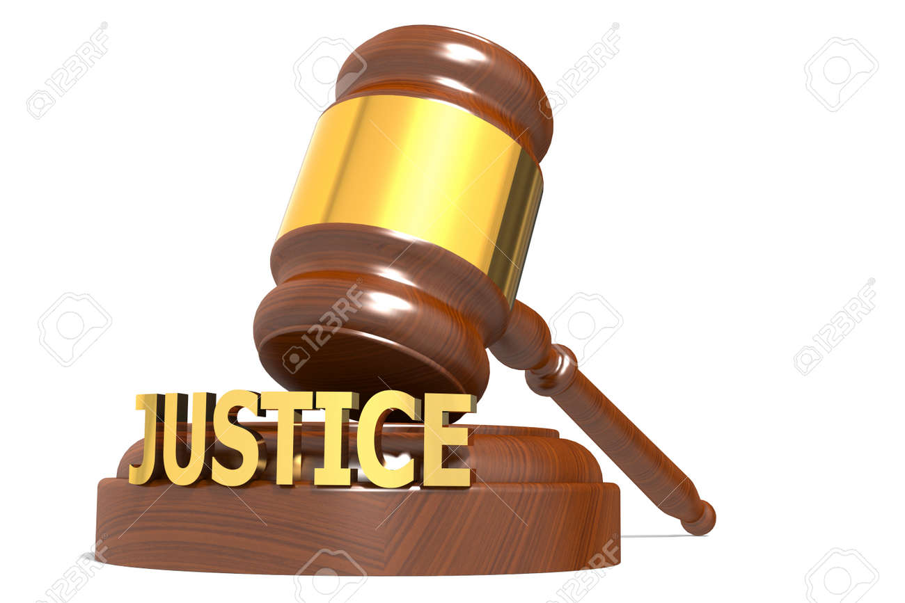 Wooden judge gavel with justice word, 3d rendering - 169211809