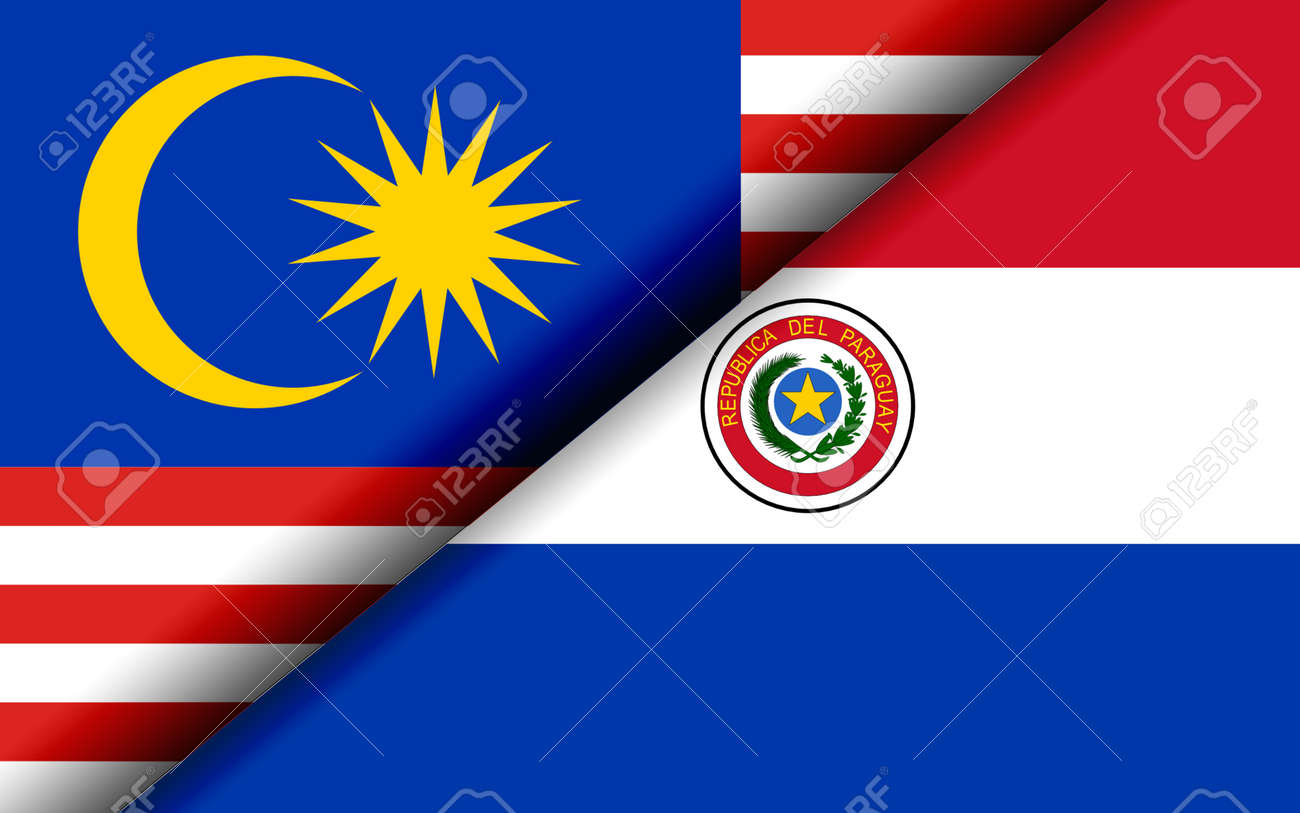 Flags of the Malaysia and Paraguay divided diagonally. 3D rendering - 170991125