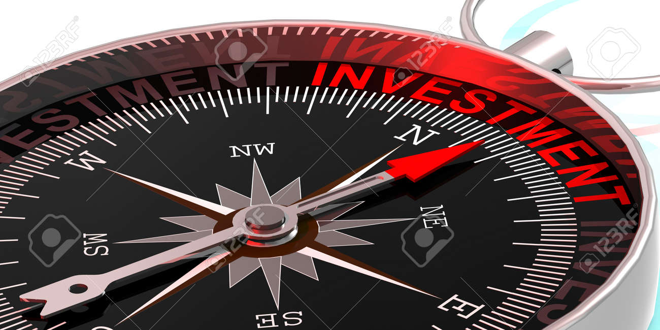 Compass needle pointing to word investment, 3d rendering - 171115531