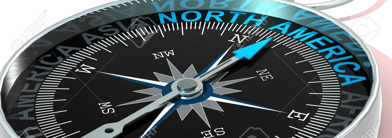 Compass needle pointing to word North America, 3d rendering - 171725885
