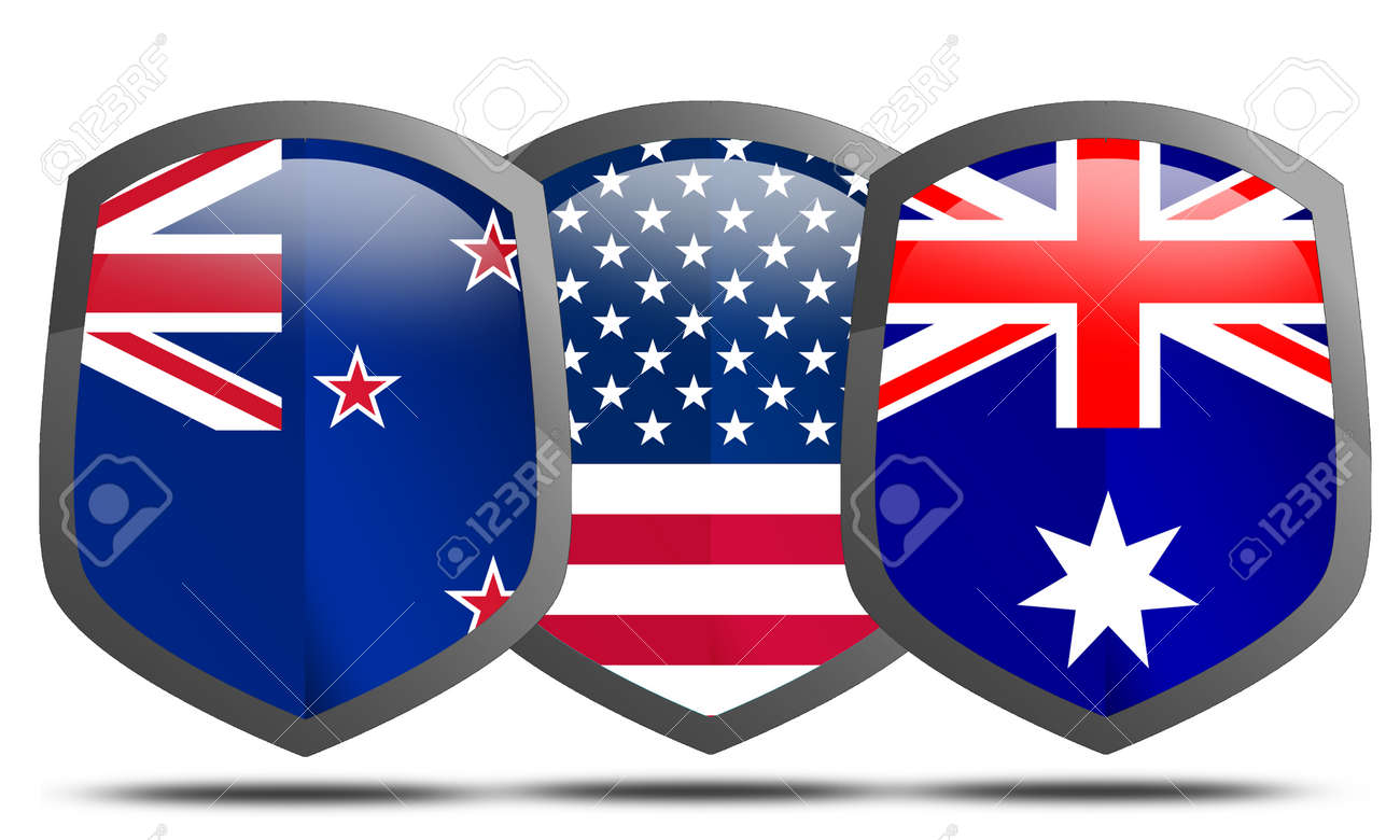ANZUS, joint military alliance between the United States, Australia and New Zealand, 3d rendering - 171725641