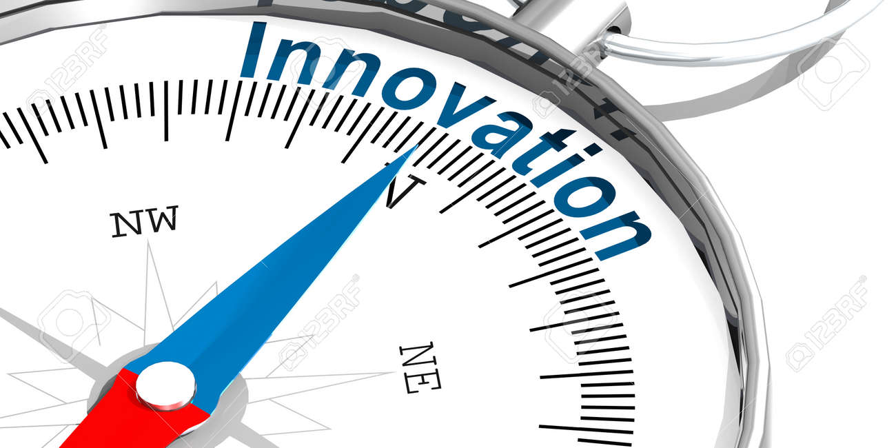 Innovation word on white compass, 3d rendering - 171843033