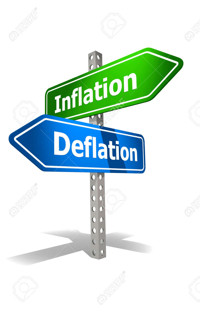 Road sign with inflation and deflation word, 3d rendering - 171798896