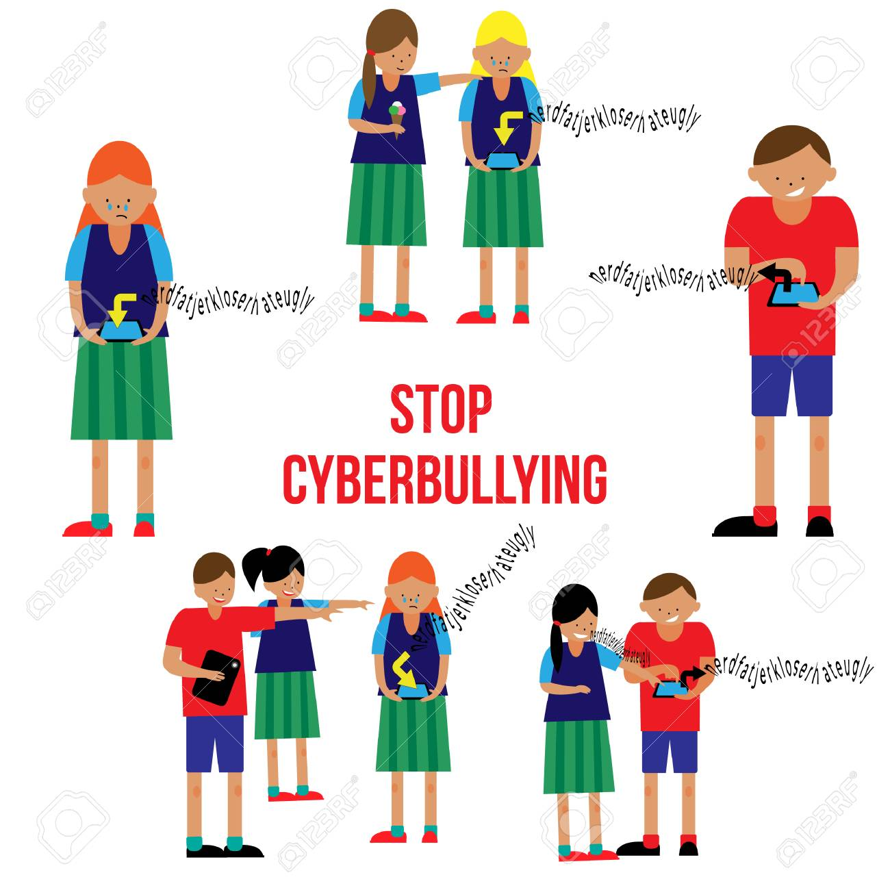 Stop cyberbullying poster in a flat style  Fine for educational