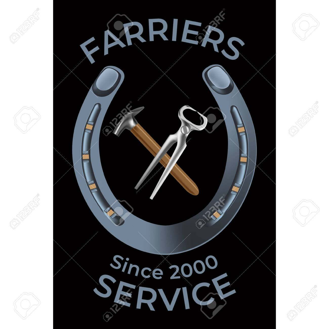 Farriers services in realistic style  Nippers, shoe and hammer
