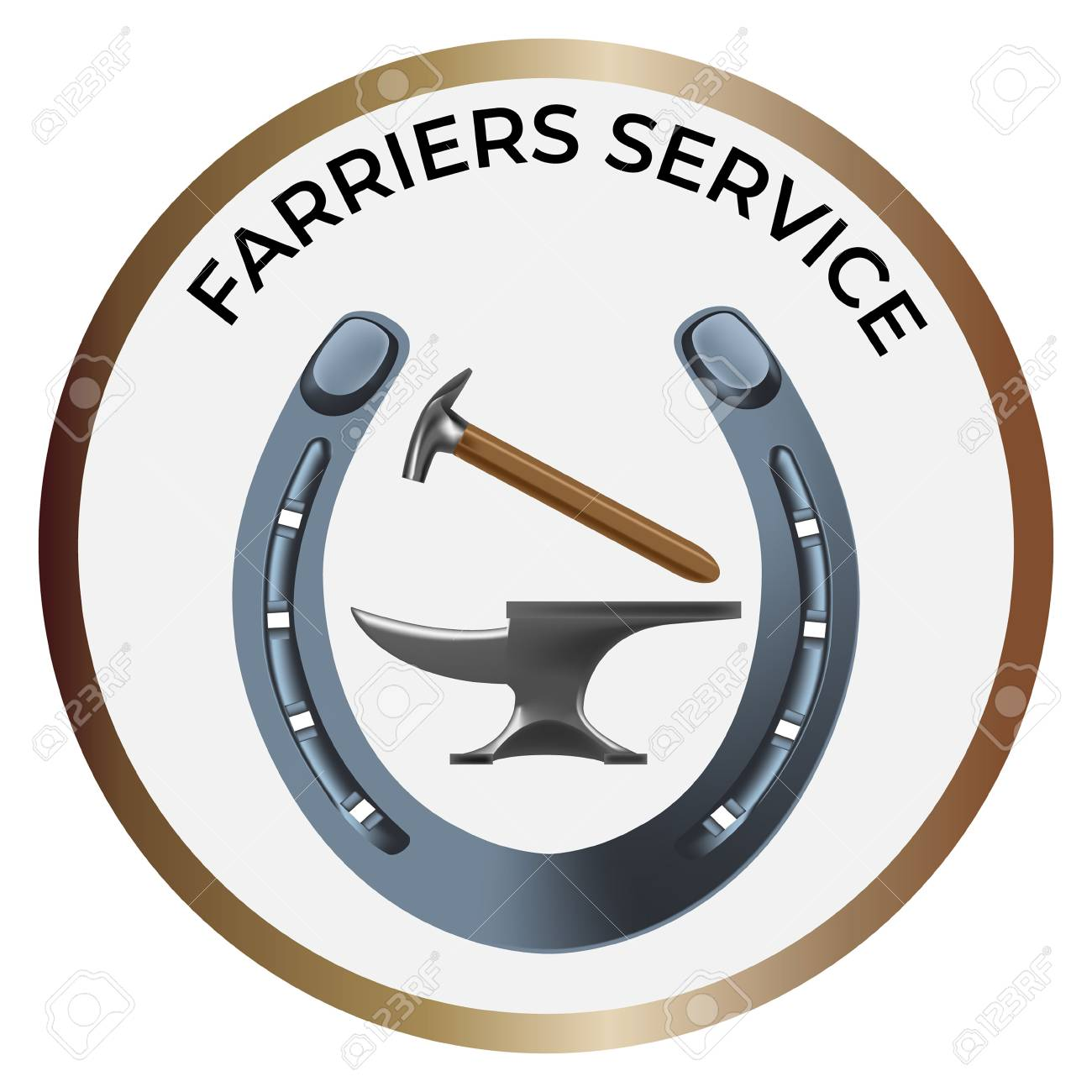 Farriers services icon in realistic style  Anvil, shoe and hammer