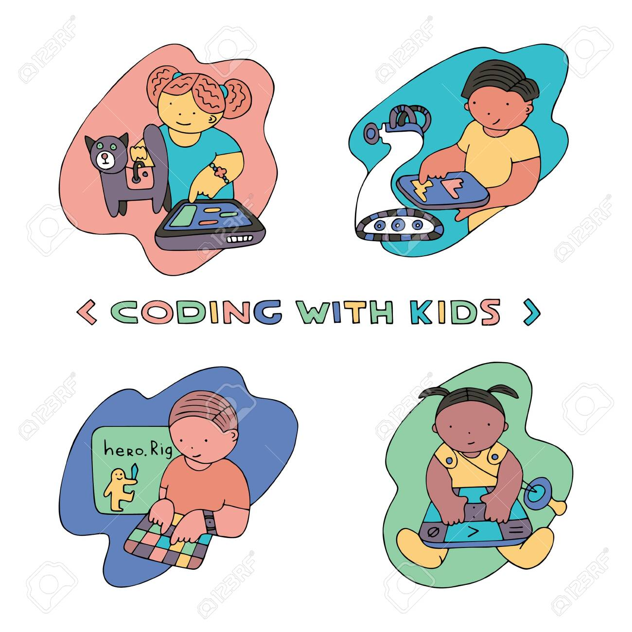 Children coding illustration  Coding for kids articles and sites