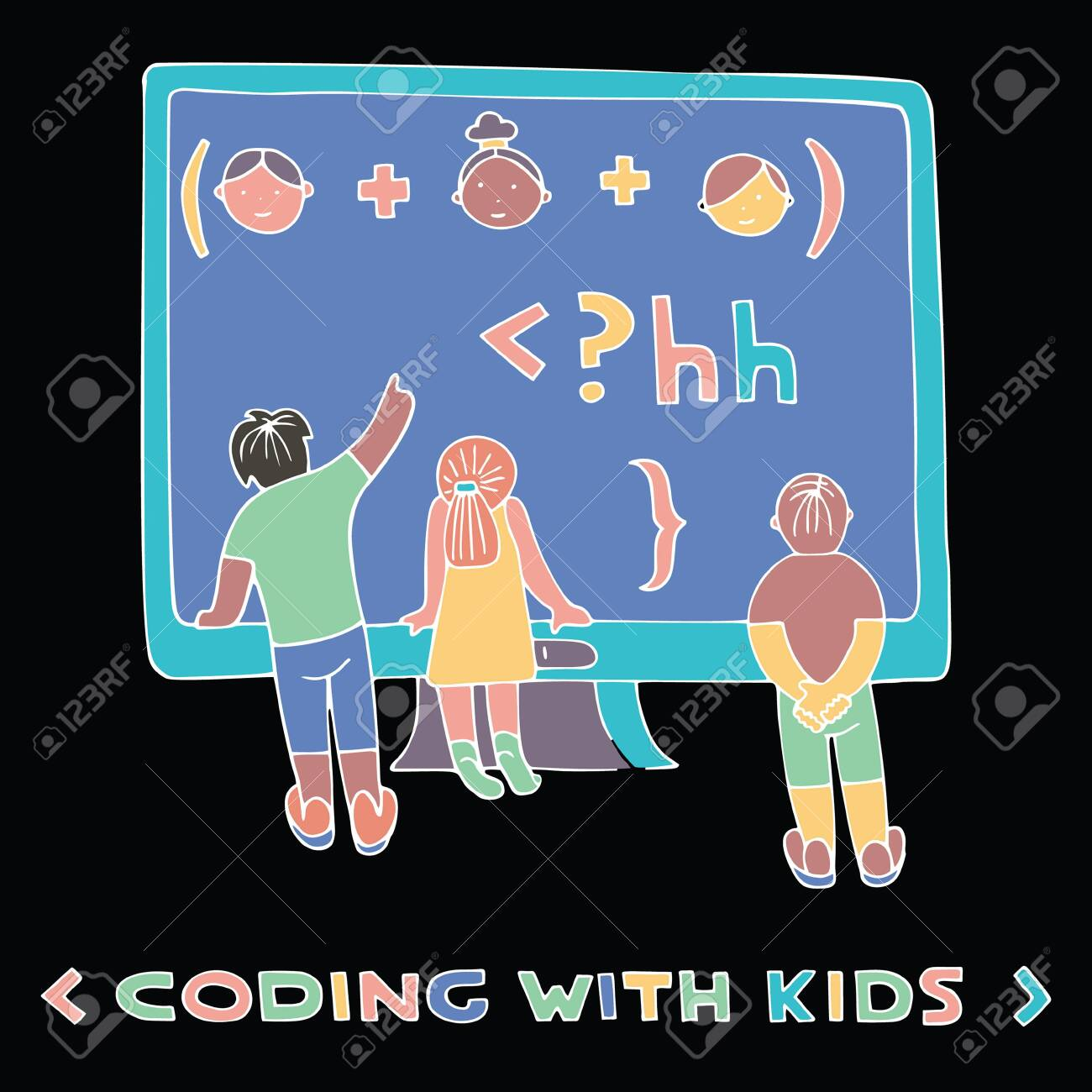 Children in front of the computer screen, watching formula  Lettering