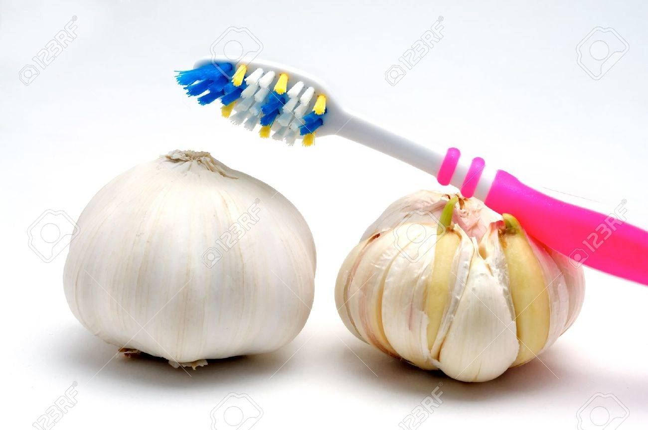 Toothbrush and garlic on a white background Stock Photo - 14608449