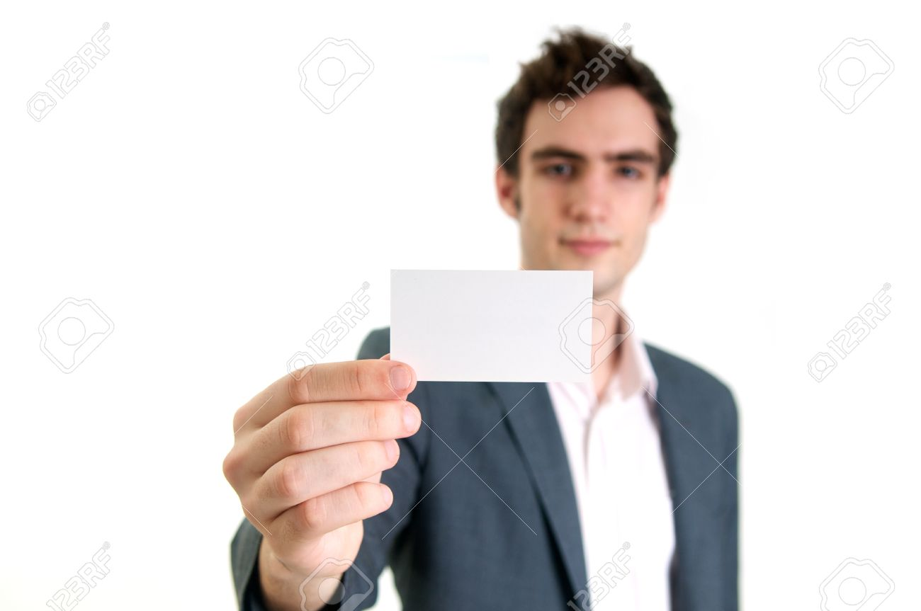 Professional Young Man Holding Business Card Stock Photo, Picture ...