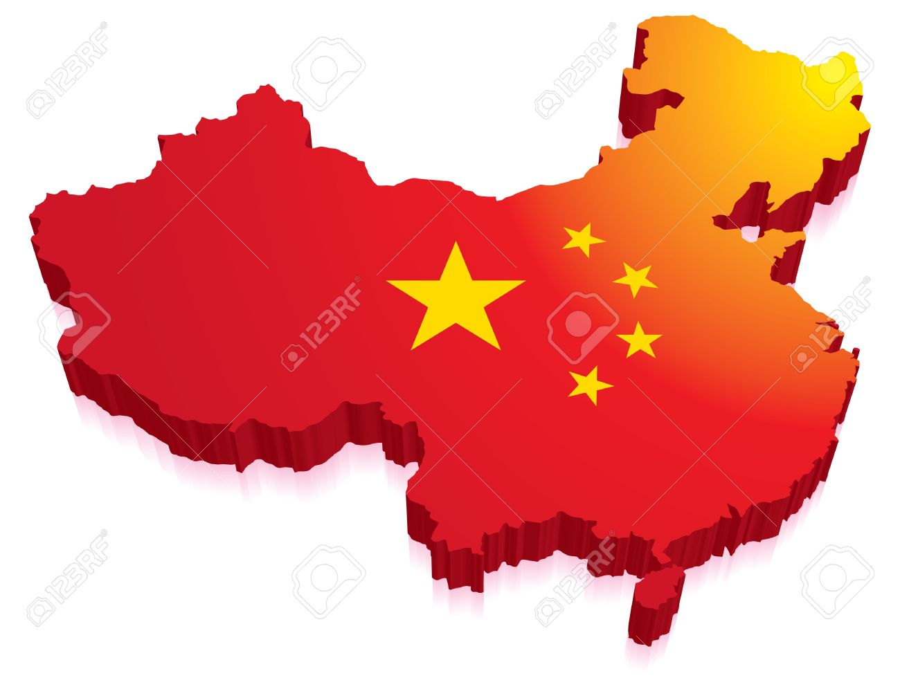 Maps of China in a 3D with flag Stock Vector - 15513361