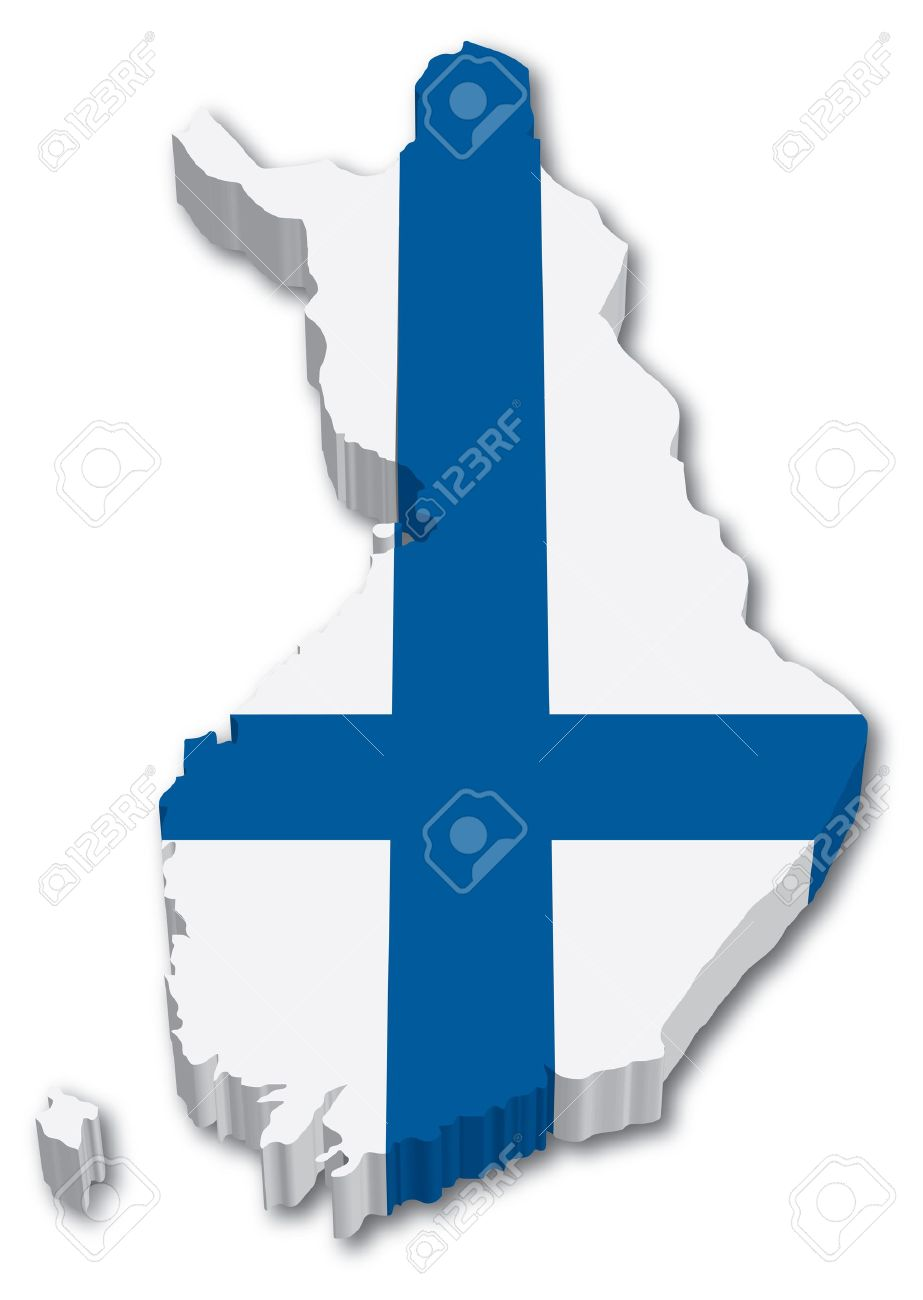 3D Finland map with flag illustration on white background Stock Vector - 15513331