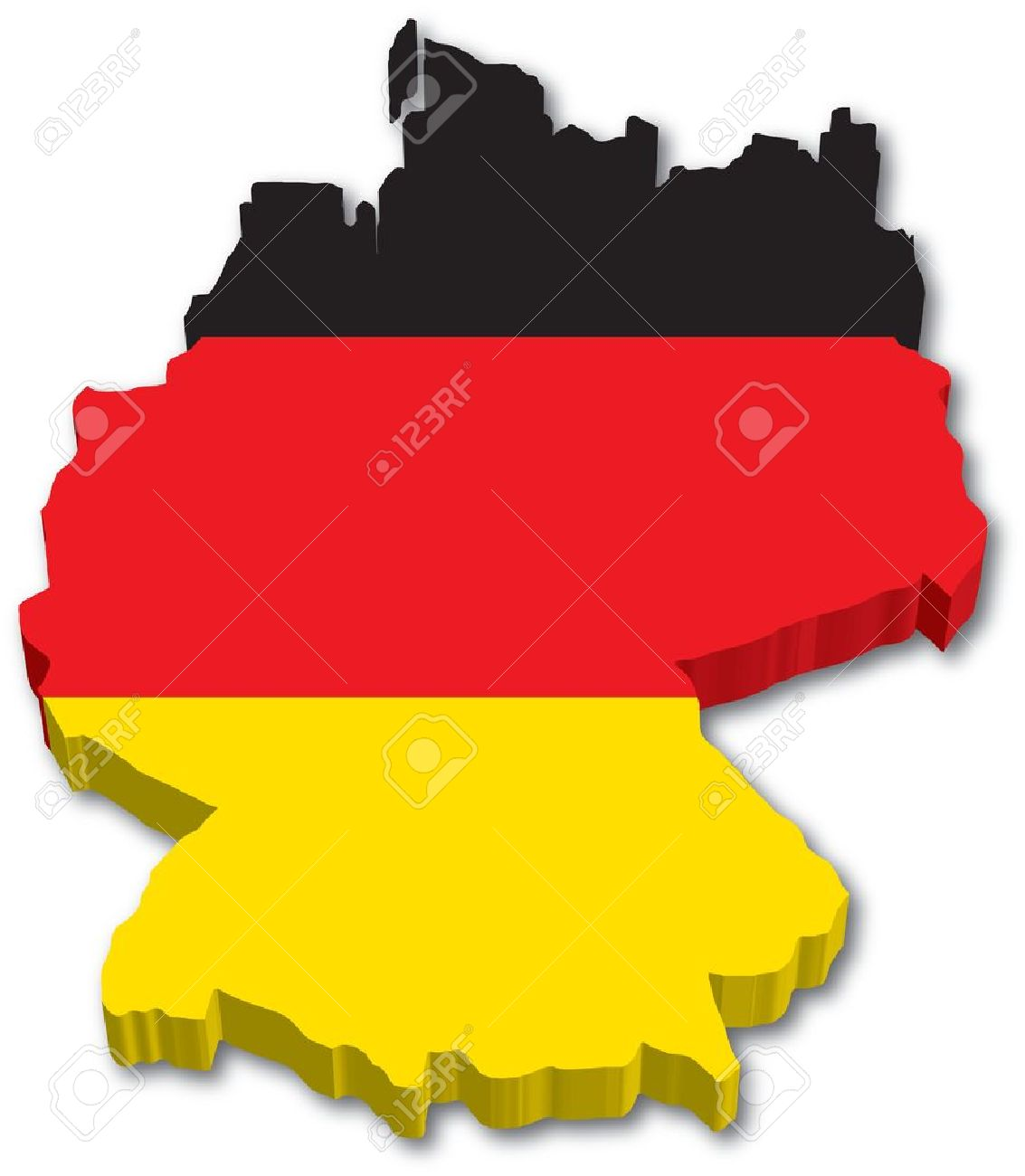 D Germany Map With Flag Illustration On White Background Royalty - Germany map cartoon