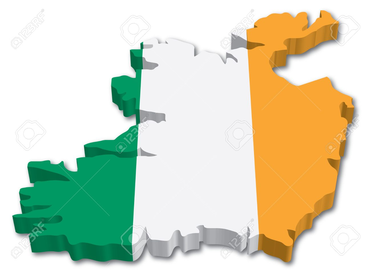 Map Of Ireland 3d.3d Ireland Map With Flag Illustration On White Background
