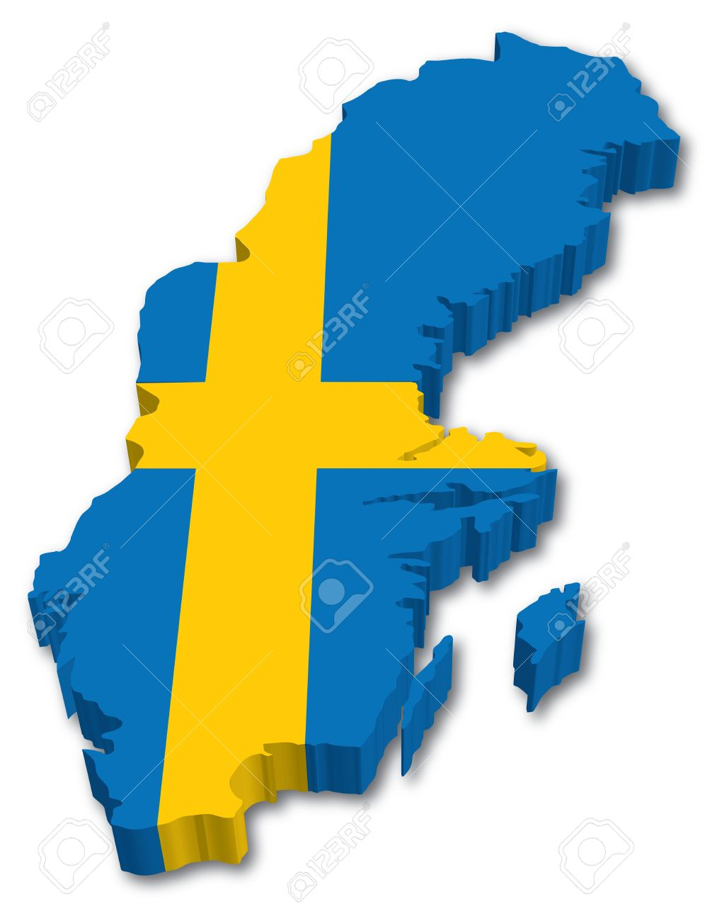 D Sweden Map With Flag Illustration On White Background Royalty - Sweden map 3d