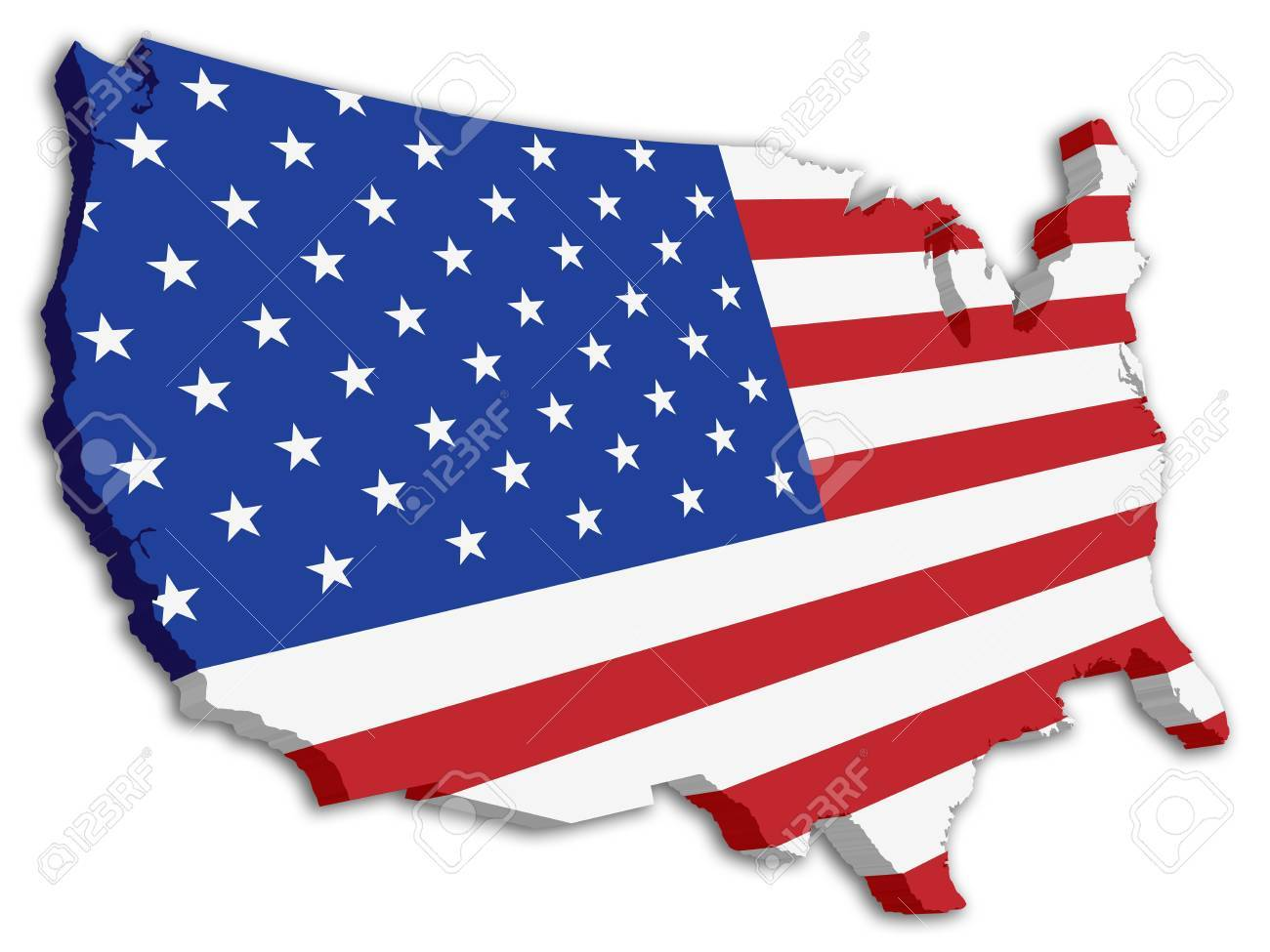 A D US Map With Flag Of The United States Of America Royalty Free - Us 3d map