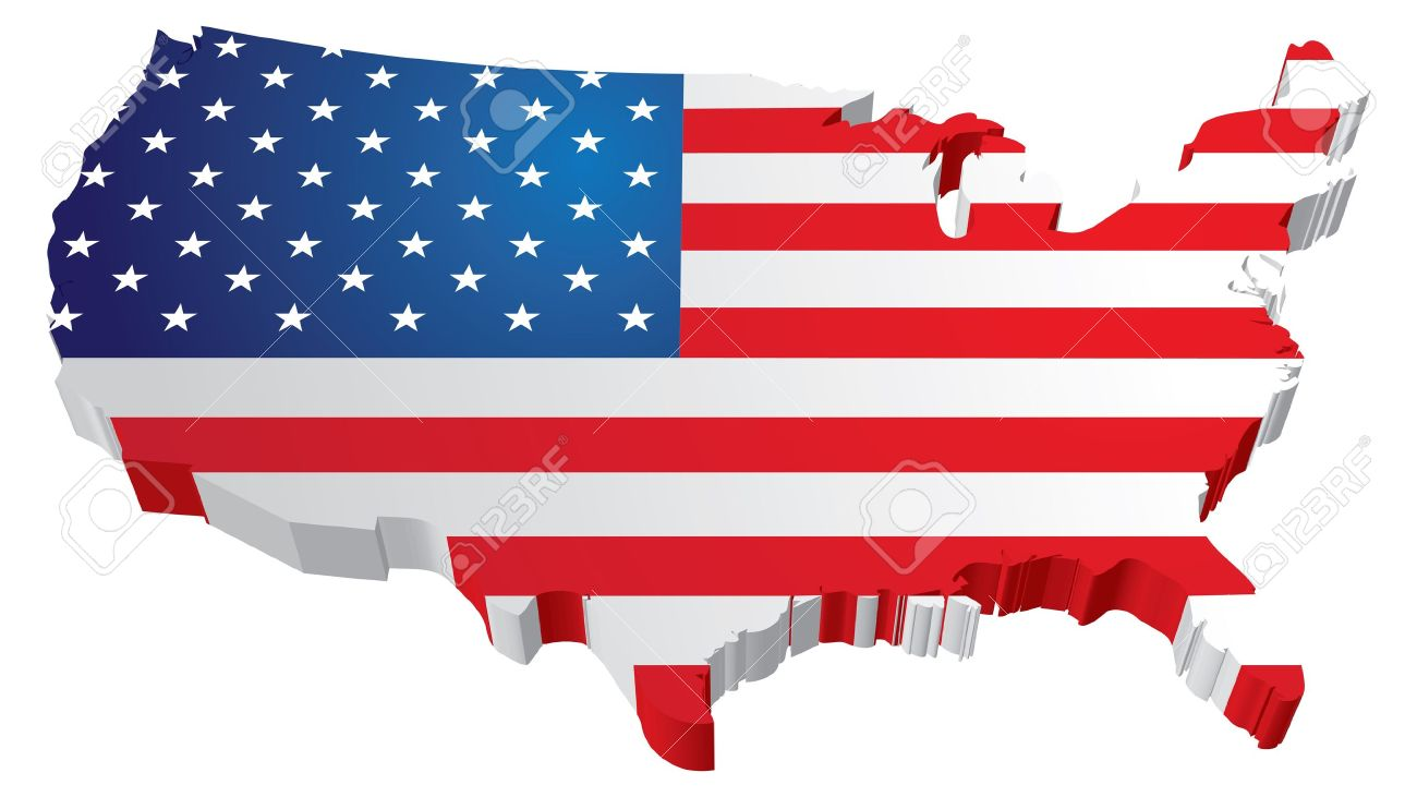 A 3d Us Map With Flag Of The United States Of America Royalty Free - American-flag-us-map
