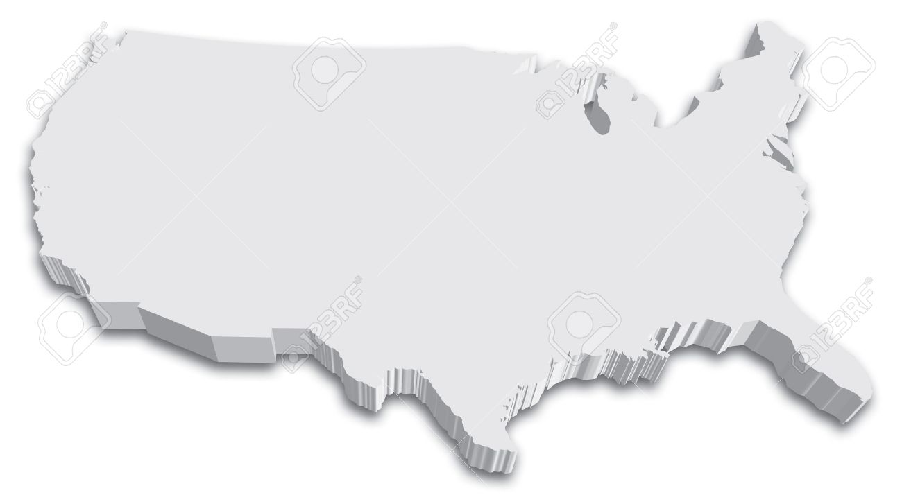 An US State Map In Black And White 3D Royalty Free Cliparts, Vectors ...