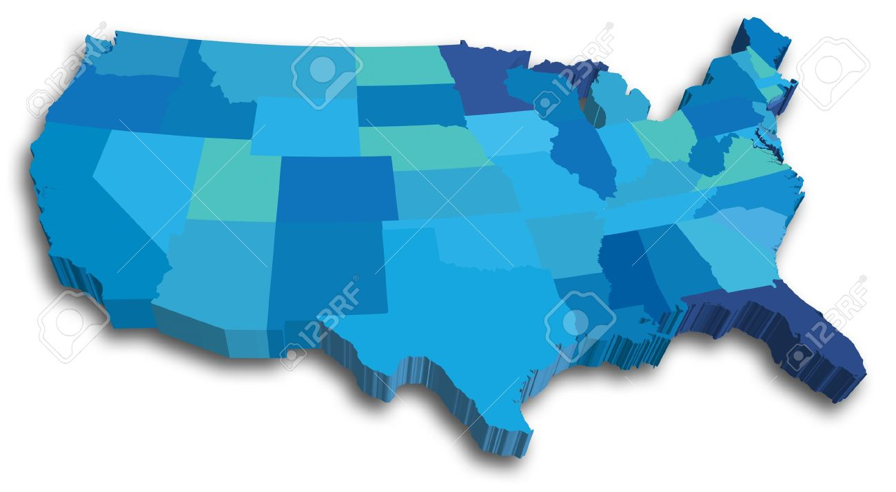 An US State Map In Blue 3D Tones Royalty Free Cliparts, Vectors, And ...