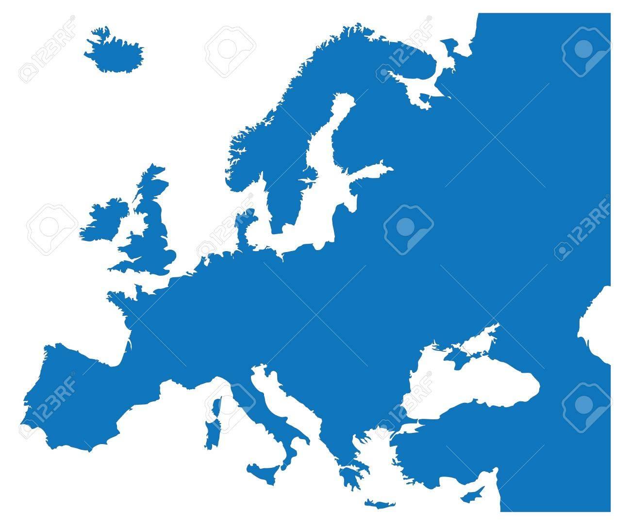 欧州諸国の青い地図 ロイヤリテ...