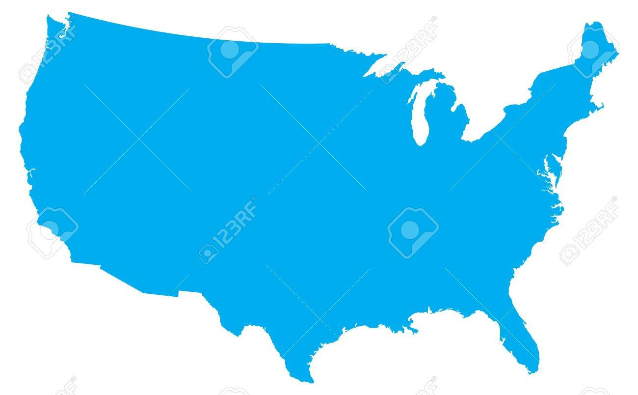 Blue Country Map Of The United States Of America Royalty Free - Us country map with states