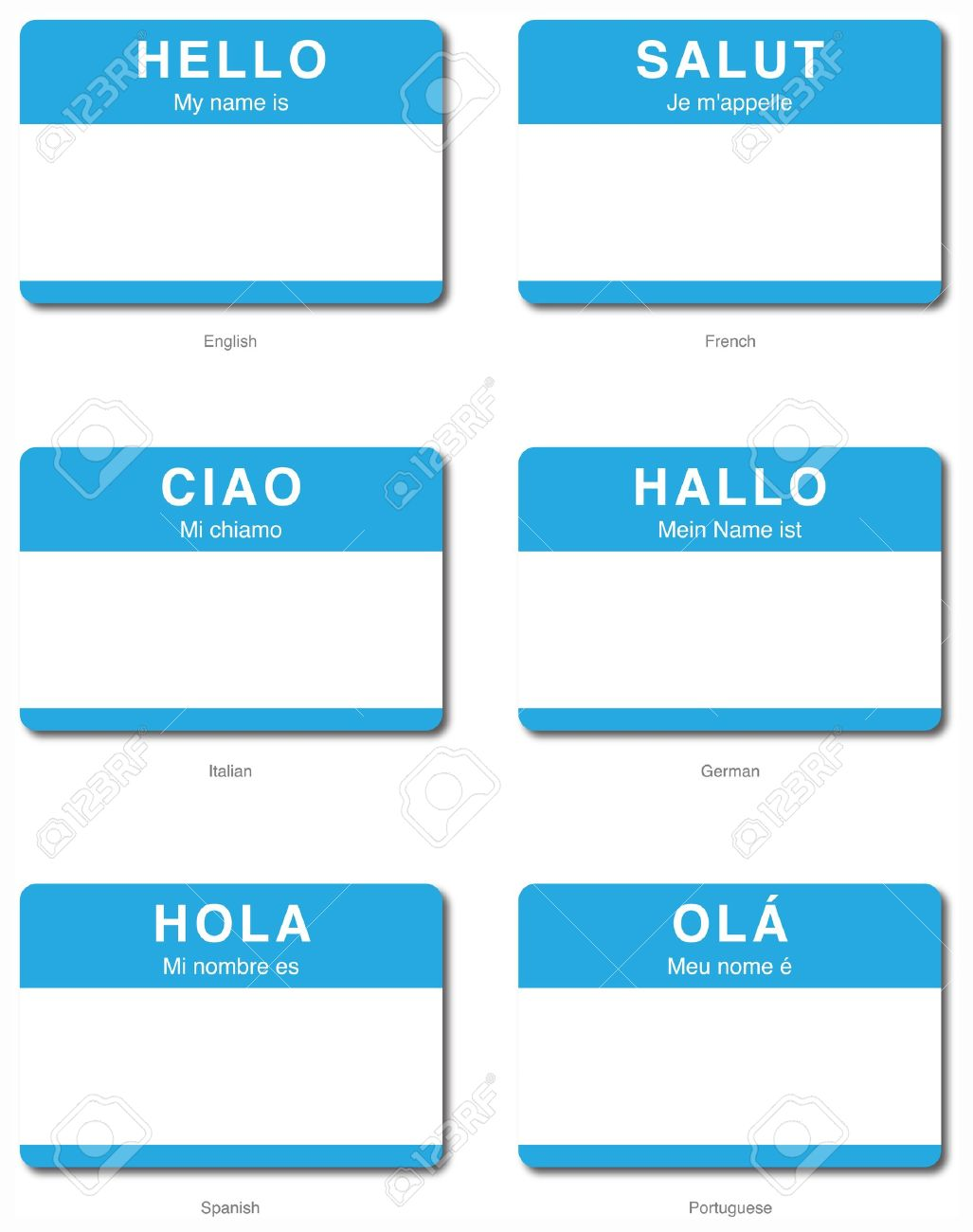 Foreign Language Of Hello My Name Is Sticker In English French