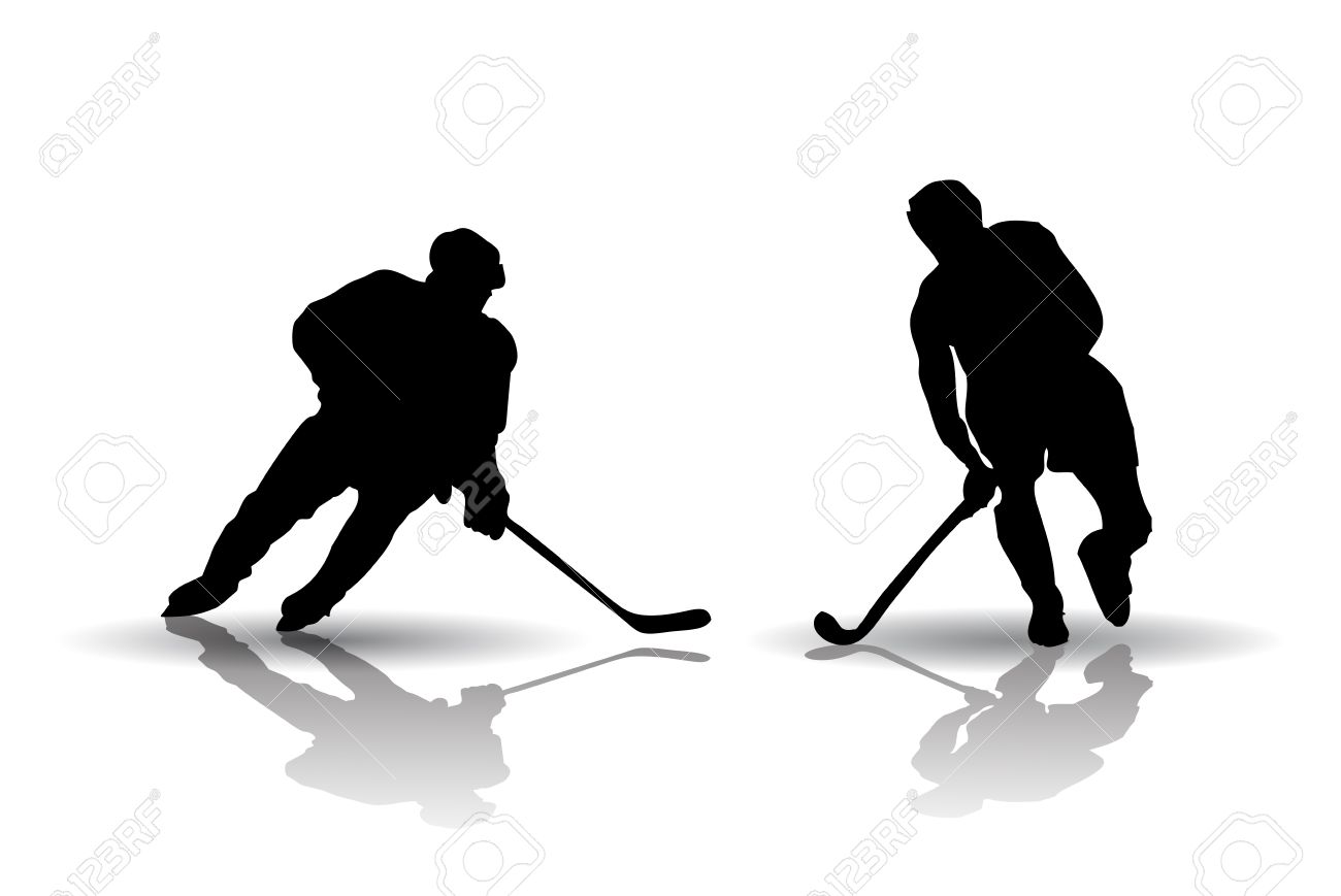 Vector of Ice Hockey and Field Hockey Players Silhouettes Stock Vector - 15513426
