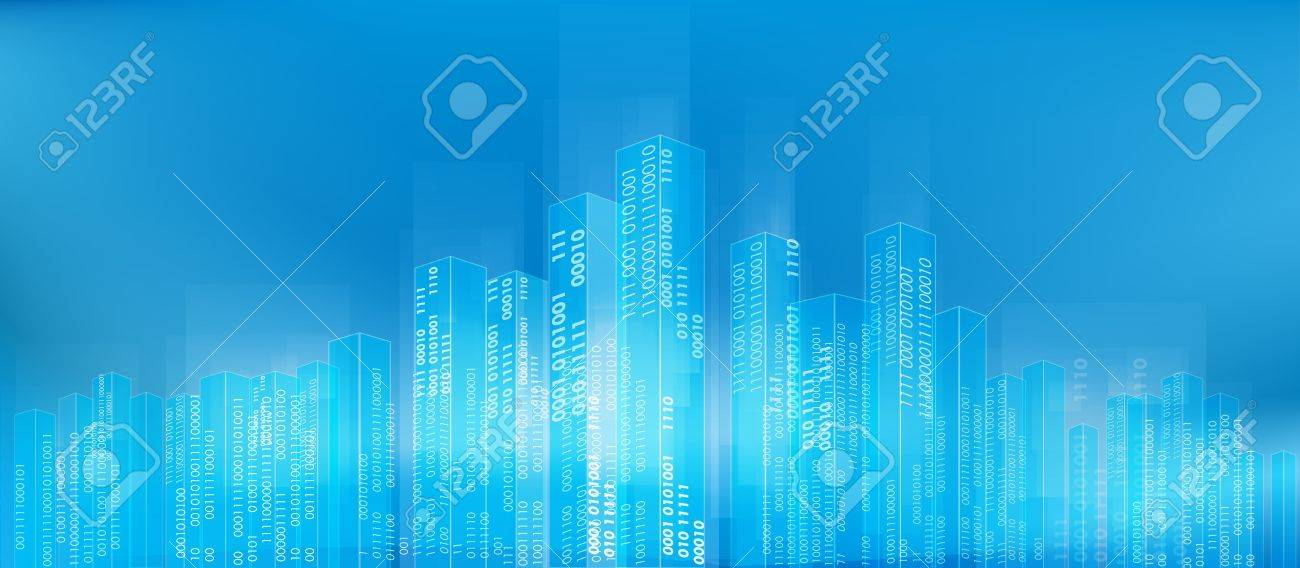 Abstract digital city skyline with binary codes as background Stock Vector - 17812996