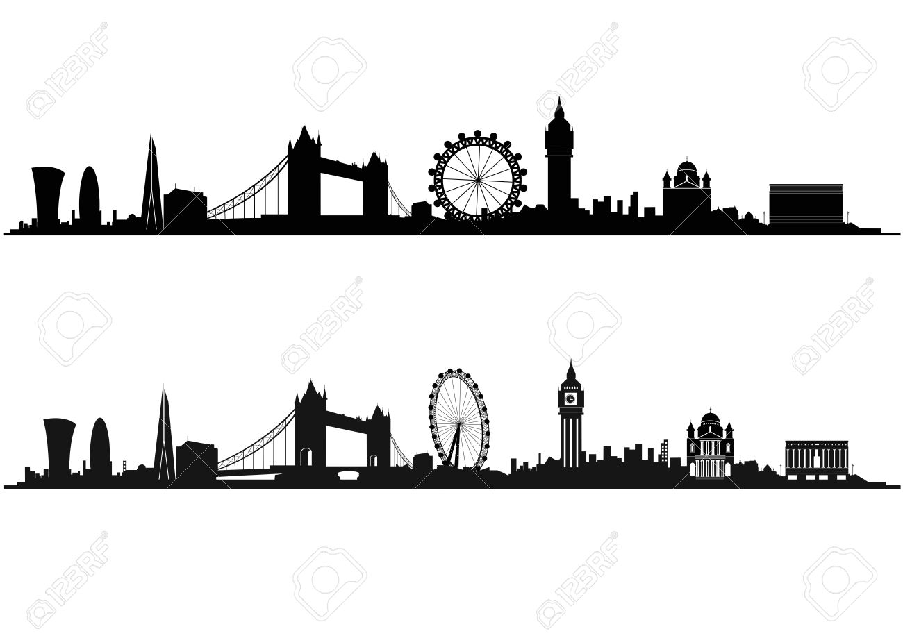 London Skyline Silhouette In Black And White Stock Vector