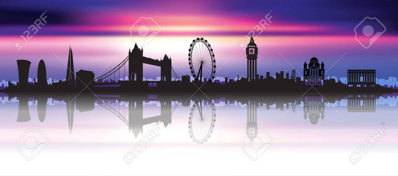London Skyline Silhouette In A Beautiful Night Sky Stock Vector